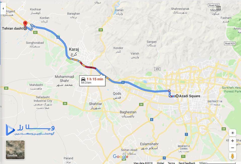 فاصله تهراندشت سرخاب از تهران